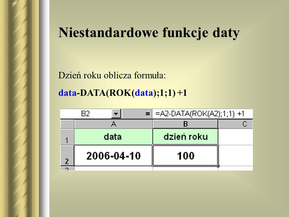 Niestandardowe funkcje daty Dzień roku oblicza formuła: data-DATA(ROK(data);1;1) +1