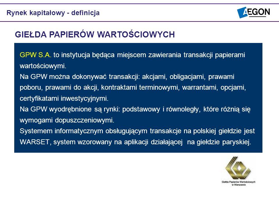 GPW S.A. to instytucja będąca miejscem zawierania transakcji papierami wartościowymi. Na GPW można dokonywać transakcji: akcjami, obligacjami, prawami