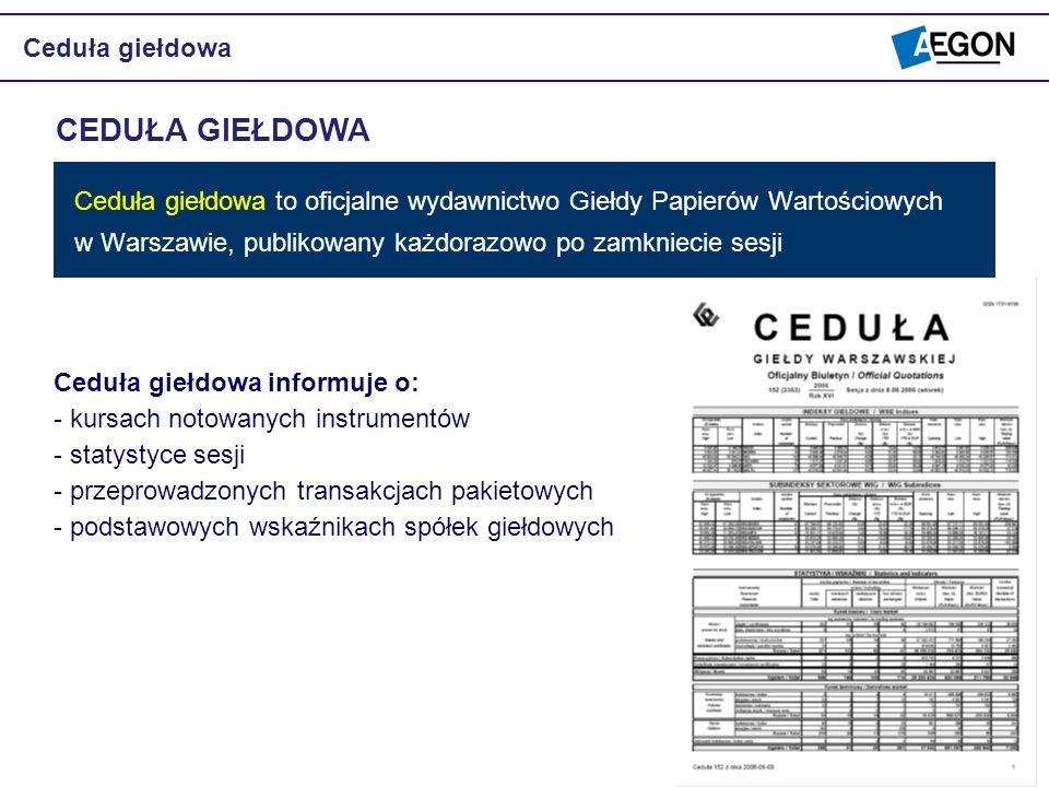 Ceduła giełdowa to oficjalne wydawnictwo Giełdy Papierów Wartościowych w Warszawie, publikowany każdorazowo po zamkniecie sesji CEDUŁA GIEŁDOWA Ceduła