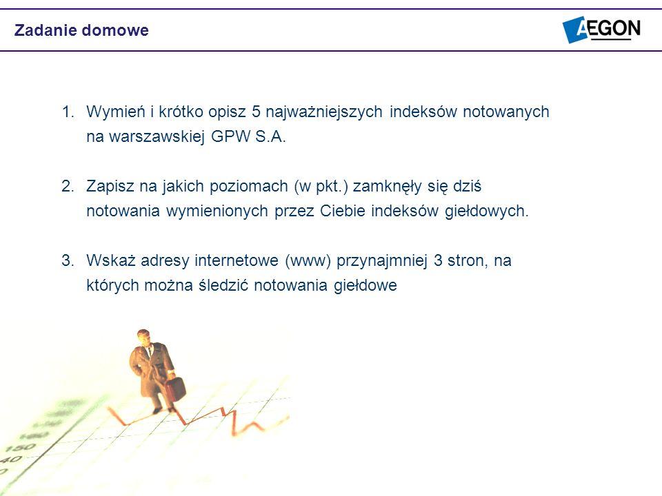 Zadanie domowe 1.Wymień i krótko opisz 5 najważniejszych indeksów notowanych na warszawskiej GPW S.A. 2.Zapisz na jakich poziomach (w pkt.) zamknęły s