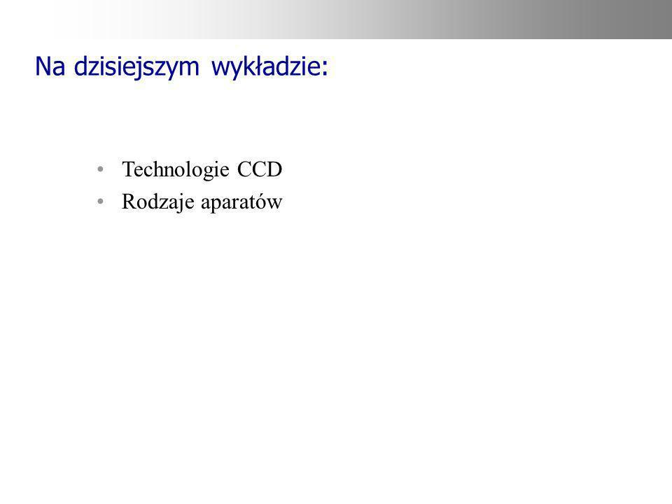 Na dzisiejszym wykładzie: Technologie CCD Rodzaje aparatów