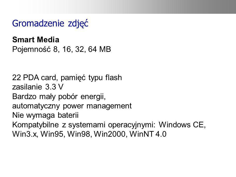 Gromadzenie zdjęć Smart Media Pojemność 8, 16, 32, 64 MB 22 PDA card, pamięć typu flash zasilanie 3.3 V Bardzo mały pobór energii, automatyczny power