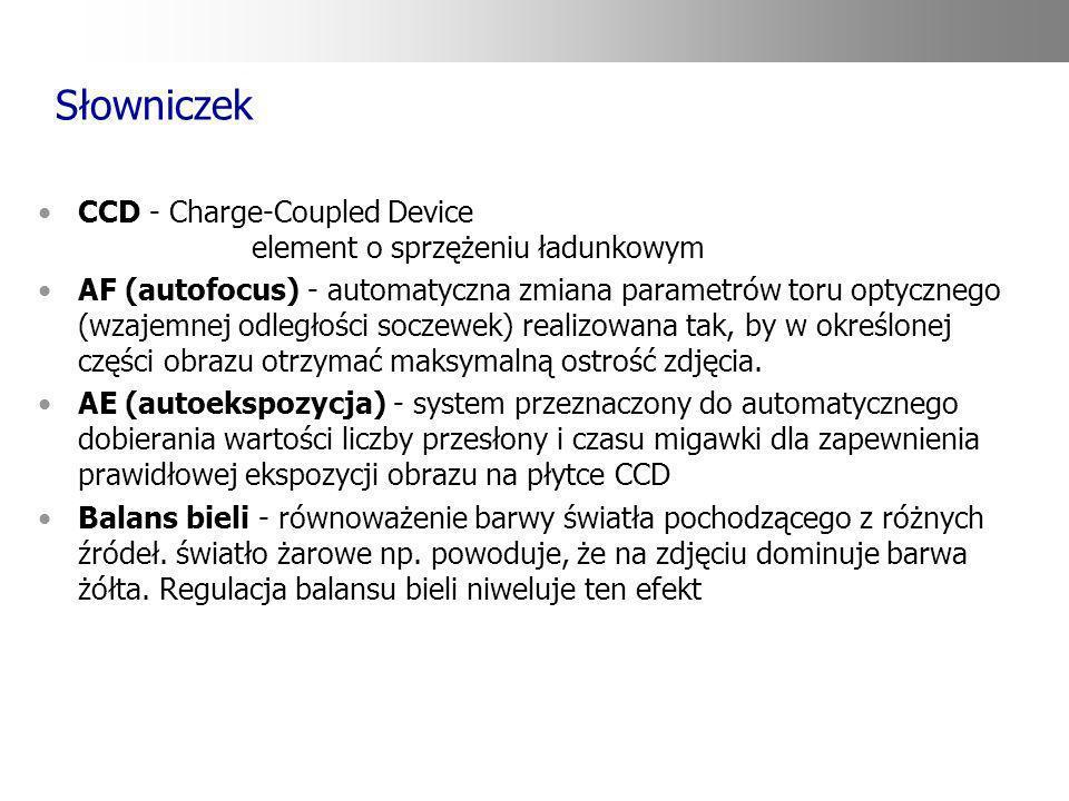 Słowniczek CCD - Charge-Coupled Device element o sprzężeniu ładunkowym AF (autofocus) - automatyczna zmiana parametrów toru optycznego (wzajemnej odle