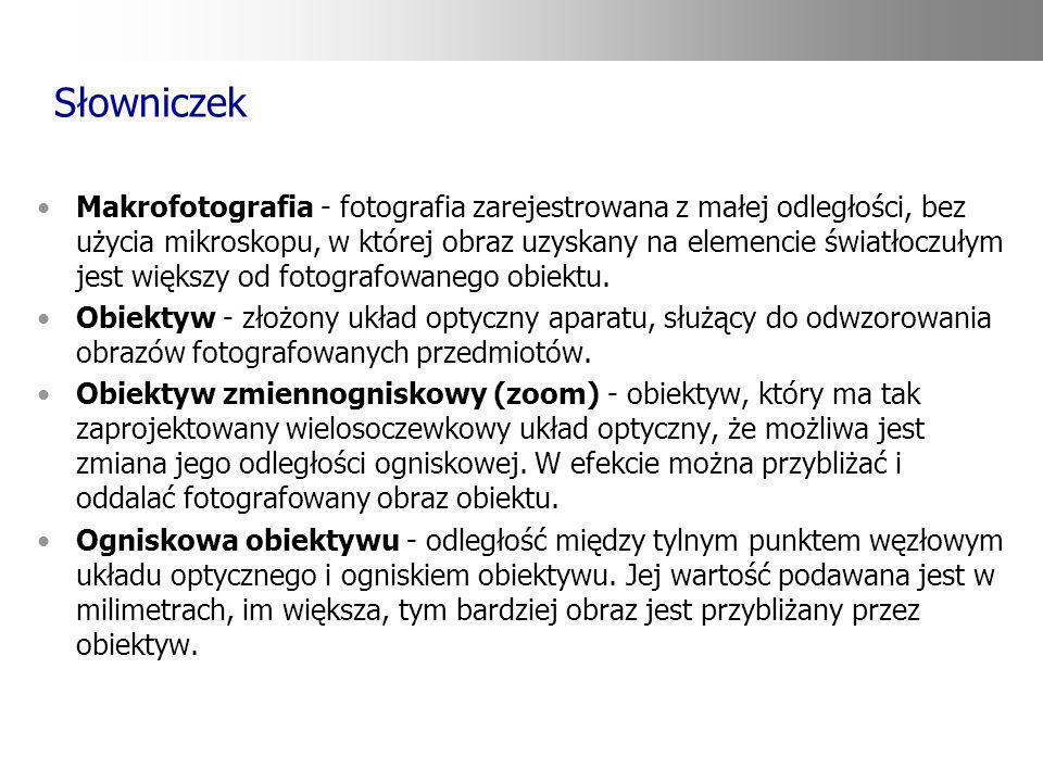 Słowniczek Makrofotografia - fotografia zarejestrowana z małej odległości, bez użycia mikroskopu, w której obraz uzyskany na elemencie światłoczułym j