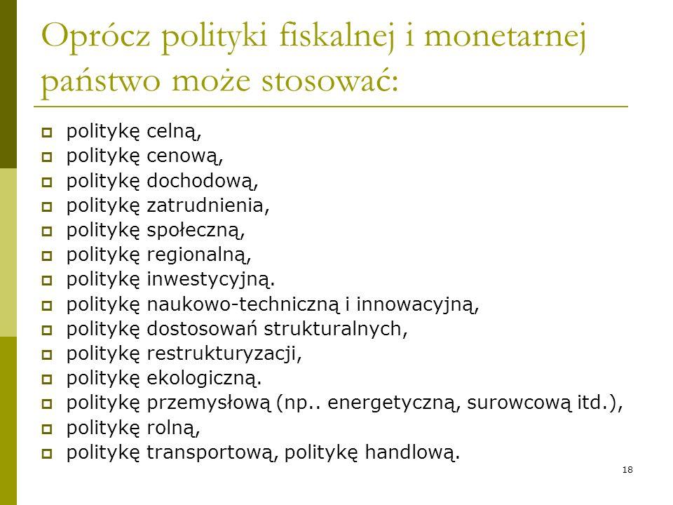 18 Oprócz polityki fiskalnej i monetarnej państwo może stosować: politykę celną, politykę cenową, politykę dochodową, politykę zatrudnienia, politykę