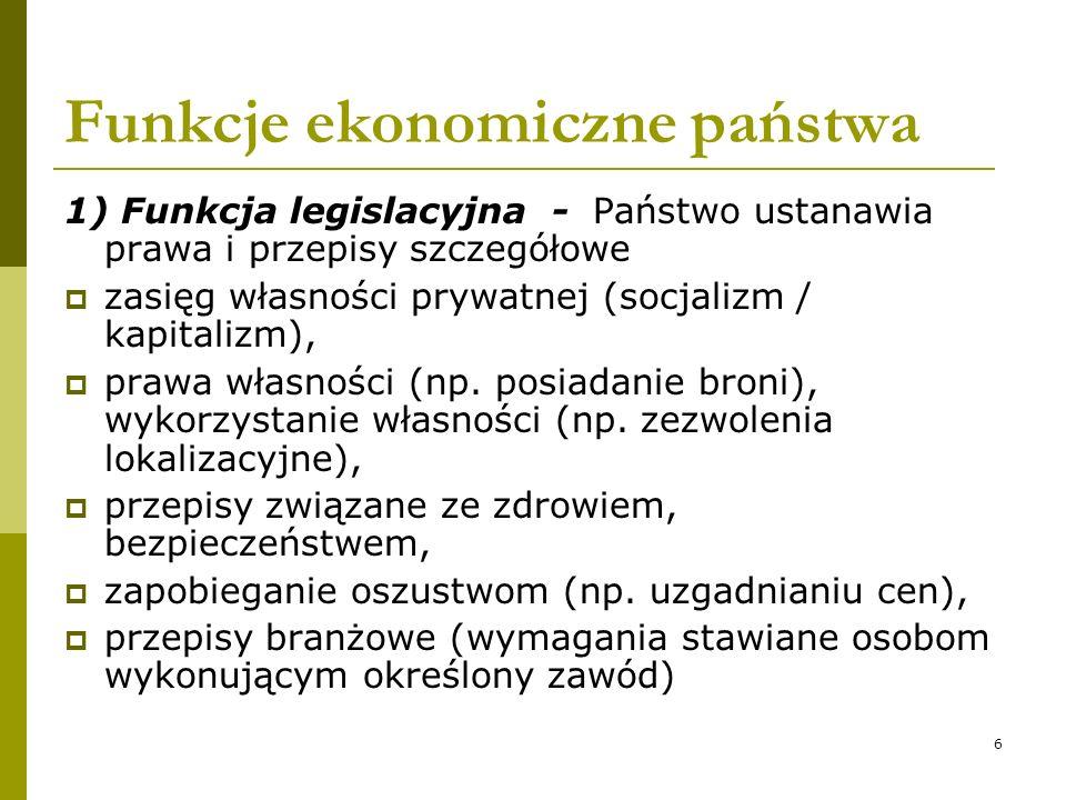 6 Funkcje ekonomiczne państwa 1) Funkcja legislacyjna - Państwo ustanawia prawa i przepisy szczegółowe zasięg własności prywatnej (socjalizm / kapital