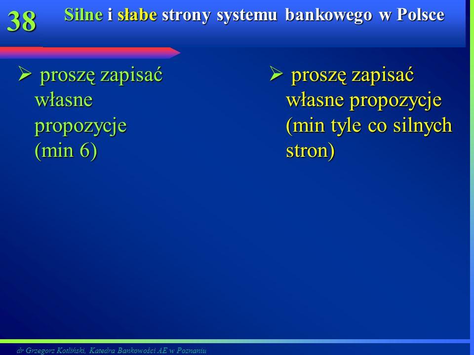 dr Grzegorz Kotliński, Katedra Bankowości AE w Poznaniu 38 Silne i słabe strony systemu bankowego w Polsce proszę zapisać własne propozycje (min 6) pr