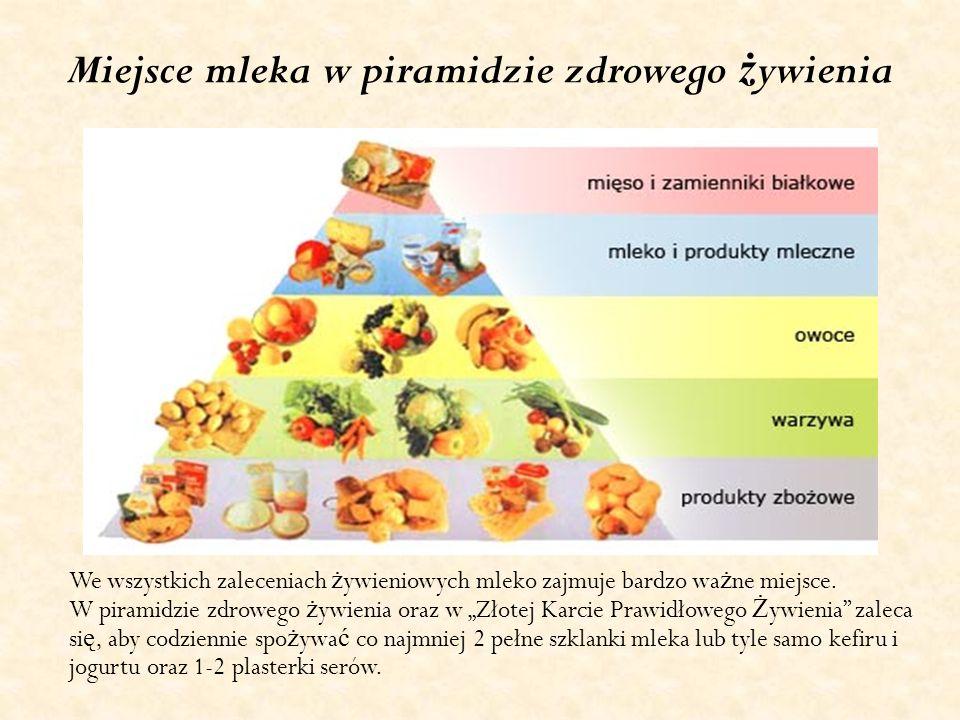 Miejsce mleka w piramidzie zdrowego ż ywienia We wszystkich zaleceniach ż ywieniowych mleko zajmuje bardzo wa ż ne miejsce. W piramidzie zdrowego ż yw