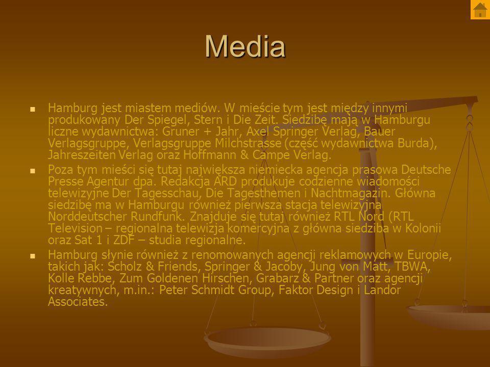 Media Hamburg jest miastem mediów. W mieście tym jest między innymi produkowany Der Spiegel, Stern i Die Zeit. Siedzibę mają w Hamburgu liczne wydawni