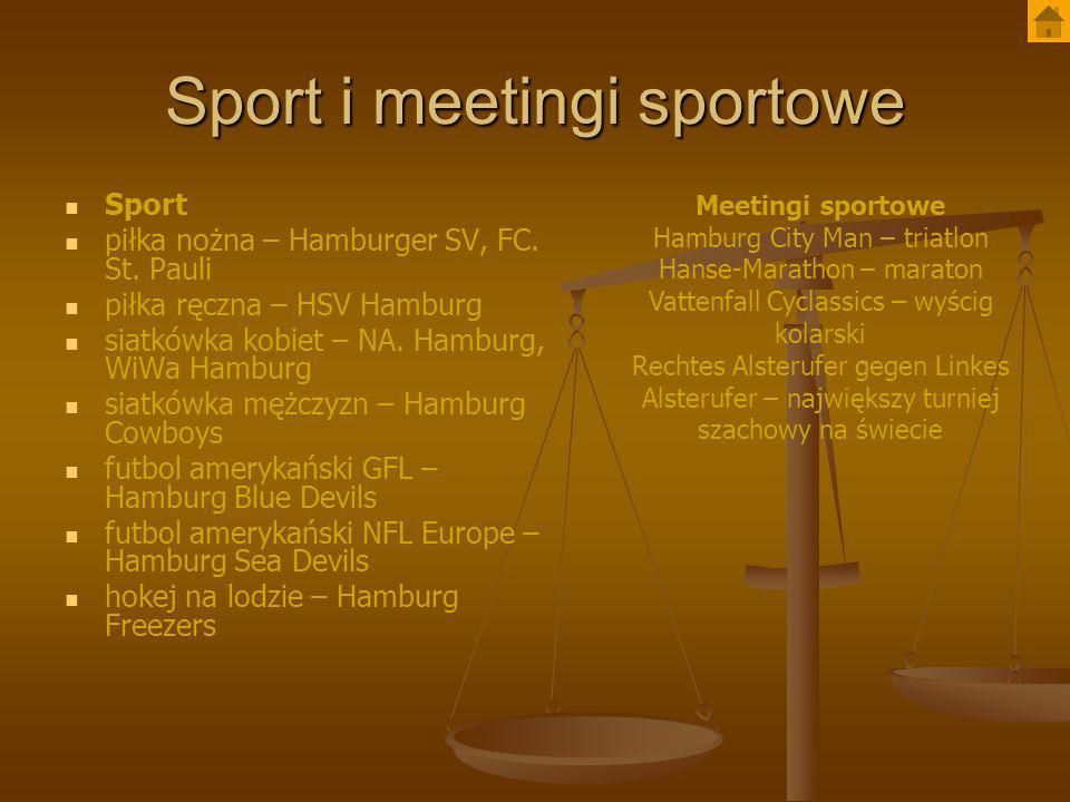 Sport i meetingi sportowe Sport piłka nożna – Hamburger SV, FC. St. Pauli piłka ręczna – HSV Hamburg siatkówka kobiet – NA. Hamburg, WiWa Hamburg siat