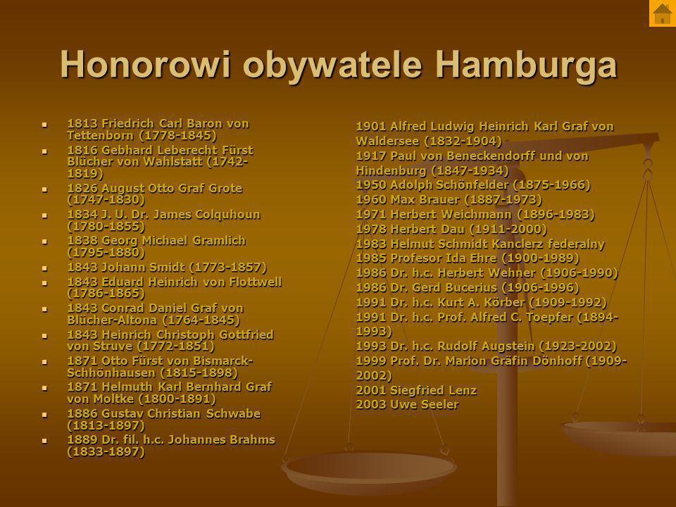 Honorowi obywatele Hamburga 1813 Friedrich Carl Baron von Tettenborn (1778-1845) 1813 Friedrich Carl Baron von Tettenborn (1778-1845) 1816 Gebhard Leb