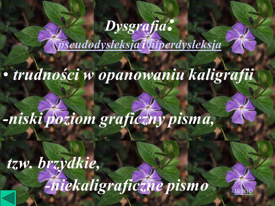 Dysgrafia : pseudodysleksja i hiperdysleksja trudności w opanowaniu kaligrafii -niski poziom graficzny pisma, tzw. brzydkie, -niekaligraficzne pismo w