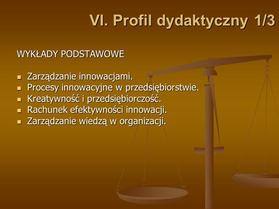 VI. Profil dydaktyczny 1/3 WYKŁADY PODSTAWOWE Zarządzanie innowacjami. Zarządzanie innowacjami. Procesy innowacyjne w przedsiębiorstwie. Procesy innow