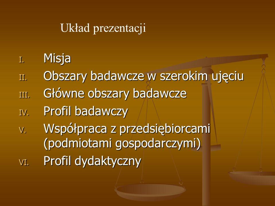 I. Misja II. Obszary badawcze w szerokim ujęciu III. Główne obszary badawcze IV. Profil badawczy V. Współpraca z przedsiębiorcami (podmiotami gospodar