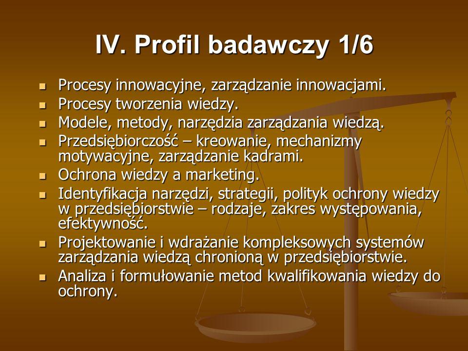 IV. Profil badawczy 1/6 Procesy innowacyjne, zarządzanie innowacjami. Procesy innowacyjne, zarządzanie innowacjami. Procesy tworzenia wiedzy. Procesy