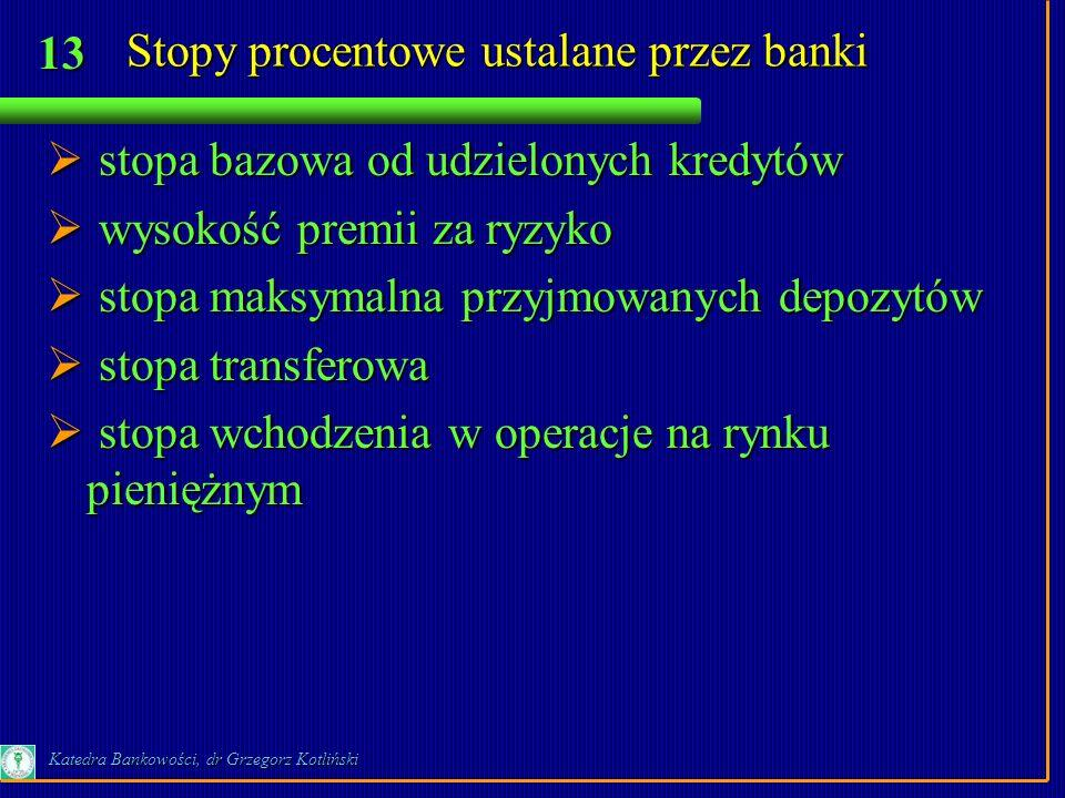 13 Katedra Bankowości, dr Grzegorz Kotliński Stopy procentowe ustalane przez banki stopa bazowa od udzielonych kredytów stopa bazowa od udzielonych kr