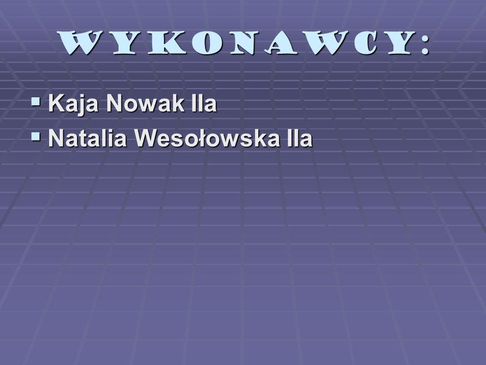 WYKONAWCY: Kaja Nowak IIa Kaja Nowak IIa Natalia Wesołowska IIa Natalia Wesołowska IIa