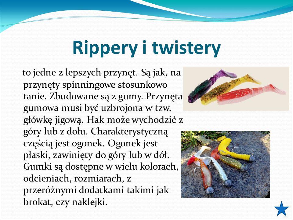 Rippery i twistery to jedne z lepszych przynęt. Są jak, na przynęty spinningowe stosunkowo tanie. Zbudowane są z gumy. Przynęta gumowa musi być uzbroj