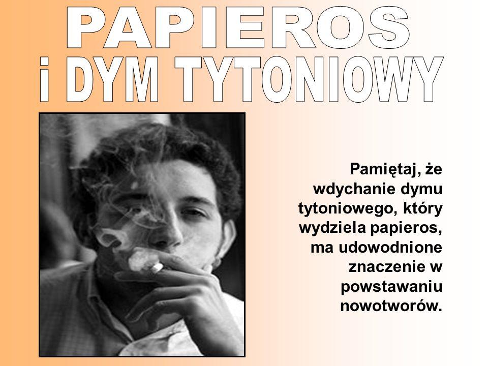 Pamiętaj, że wdychanie dymu tytoniowego, który wydziela papieros, ma udowodnione znaczenie w powstawaniu nowotworów.