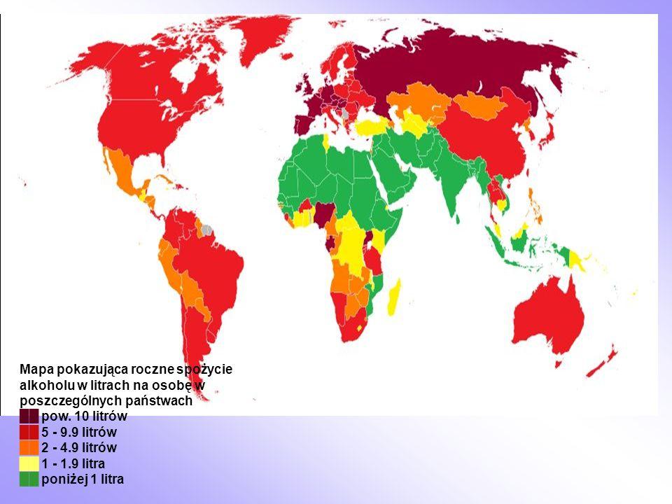 Mapa pokazująca roczne spożycie alkoholu w litrach na osobę w poszczególnych państwach pow. 10 litrów 5 - 9.9 litrów 2 - 4.9 litrów 1 - 1.9 litra poni