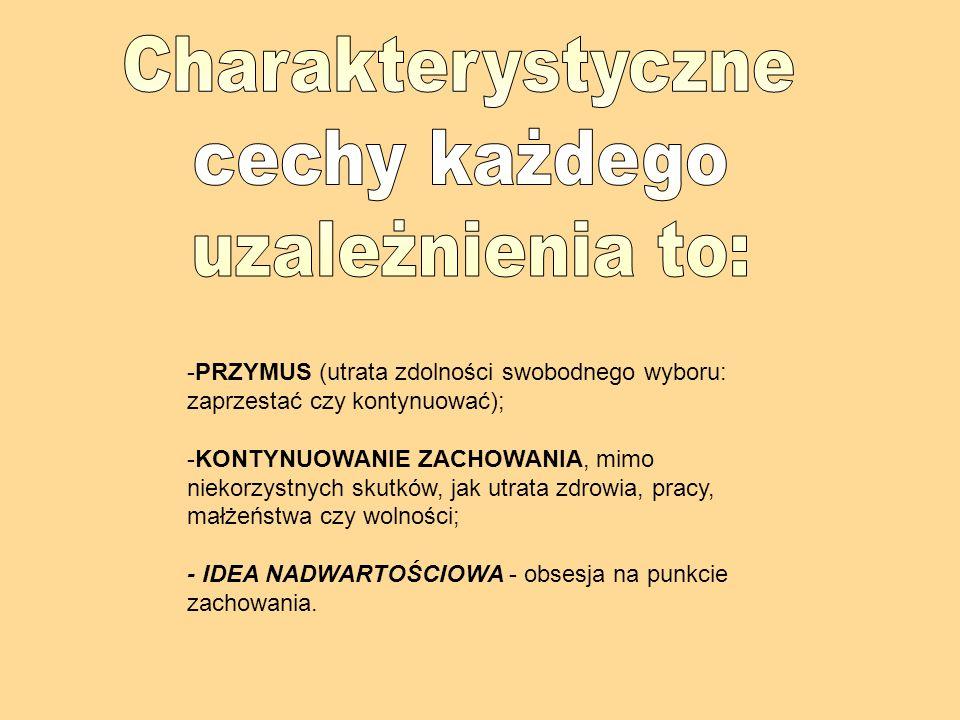 -PRZYMUS (utrata zdolności swobodnego wyboru: zaprzestać czy kontynuować); -KONTYNUOWANIE ZACHOWANIA, mimo niekorzystnych skutków, jak utrata zdrowia,