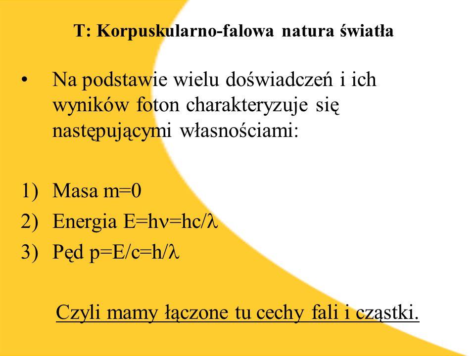 T: Korpuskularno-falowa natura światła Na podstawie wielu doświadczeń i ich wyników foton charakteryzuje się następującymi własnościami: 1)Masa m=0 2)