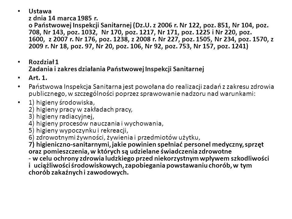 Ustawa z dnia 14 marca 1985 r.o Państwowej Inspekcji Sanitarnej (Dz.U.