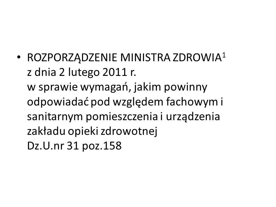 ROZPORZĄDZENIE MINISTRA ZDROWIA 1 z dnia 2 lutego 2011 r.