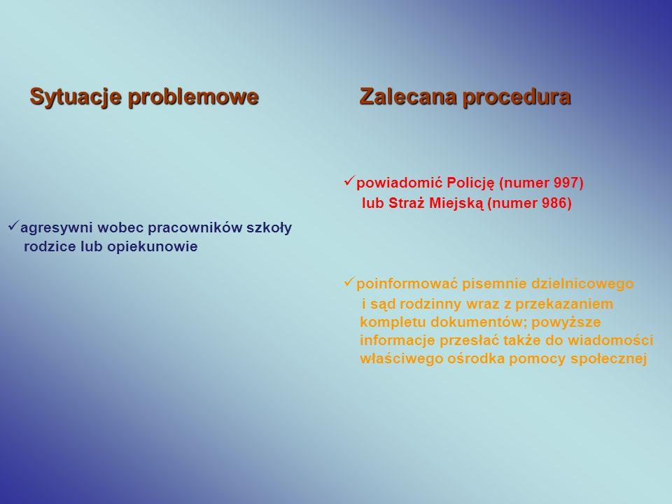 Sytuacje problemowe Zalecana procedura agresywni wobec pracowników szkoły rodzice lub opiekunowie powiadomić Policję (numer 997) lub Straż Miejską (nu