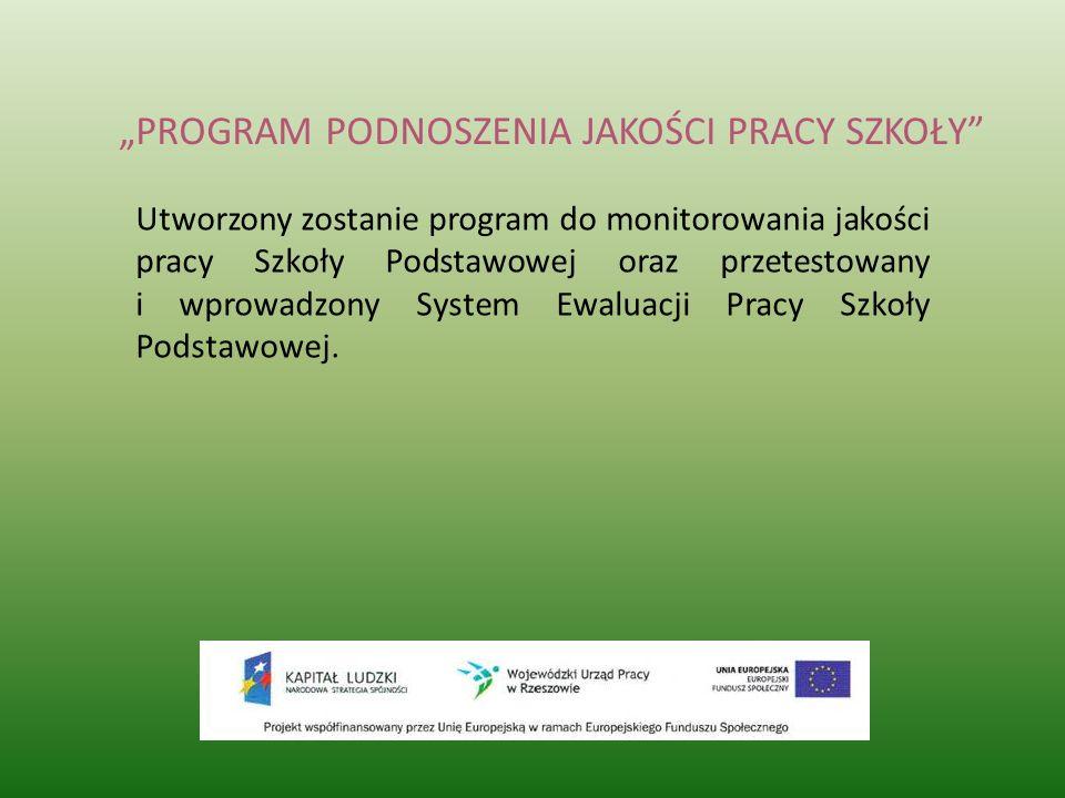 PROGRAM PODNOSZENIA JAKOŚCI PRACY SZKOŁY Utworzony zostanie program do monitorowania jakości pracy Szkoły Podstawowej oraz przetestowany i wprowadzony