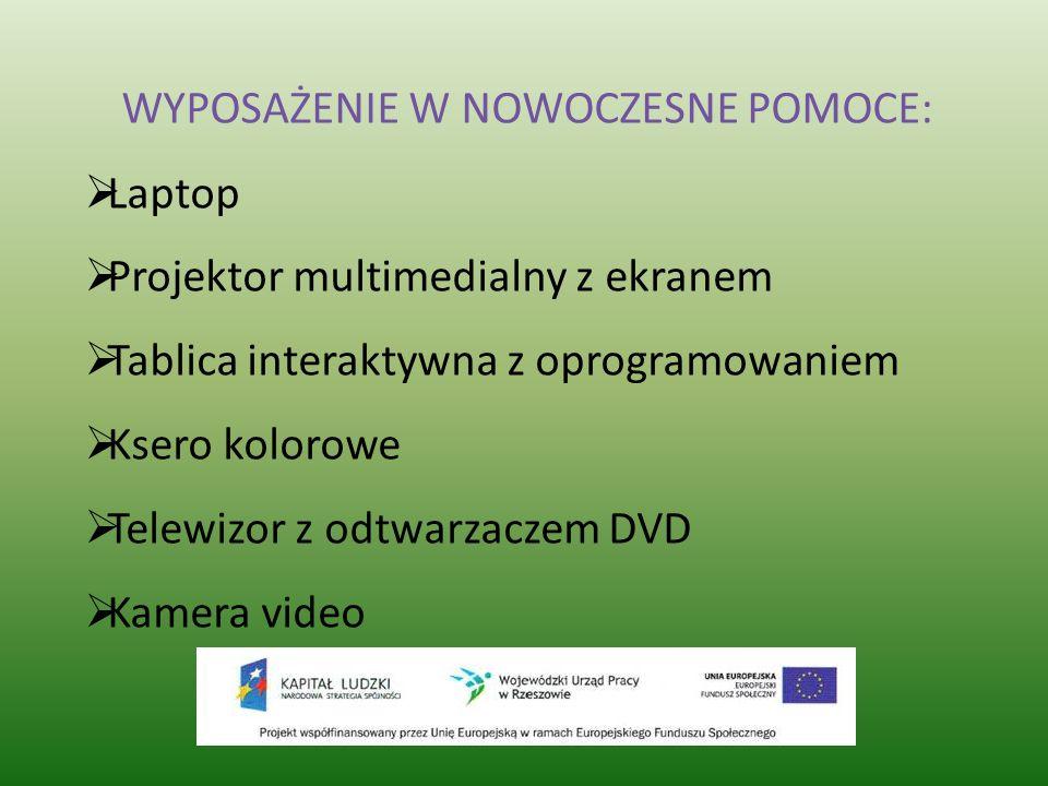 Laptop Projektor multimedialny z ekranem Tablica interaktywna z oprogramowaniem Ksero kolorowe Telewizor z odtwarzaczem DVD Kamera video WYPOSAŻENIE W