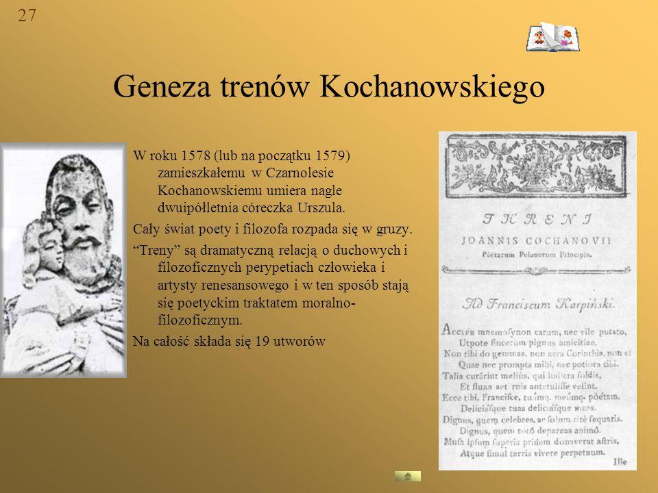 Geneza trenów Kochanowskiego W roku 1578 (lub na początku 1579) zamieszkałemu w Czarnolesie Kochanowskiemu umiera nagle dwuipółletnia córeczka Urszula