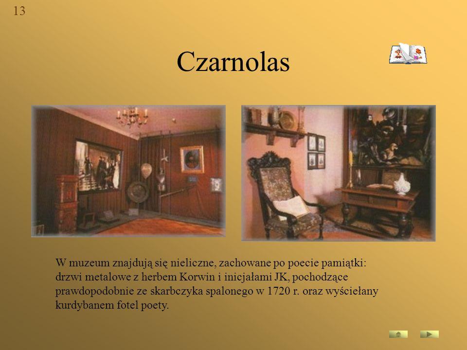 Czarnolas W muzeum znajdują się nieliczne, zachowane po poecie pamiątki: drzwi metalowe z herbem Korwin i inicjałami JK, pochodzące prawdopodobnie ze
