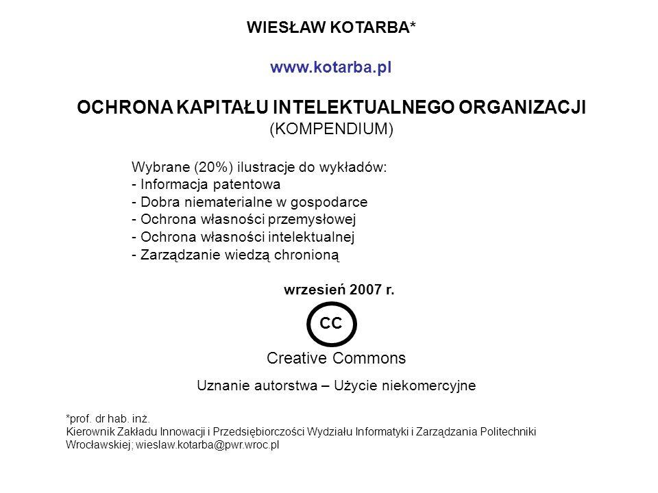 1.Kotarba W. Red. Ochrona wiedzy a kapitał intelektualny organizacji.