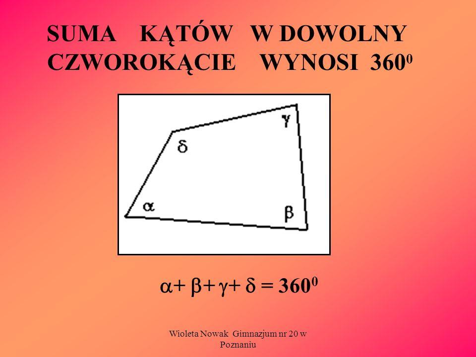 Wioleta Nowak Gimnazjum nr 20 w Poznaniu SUMA KĄTÓW W DOWOLNY CZWOROKĄCIE WYNOSI 360 0 + + + = 360 0