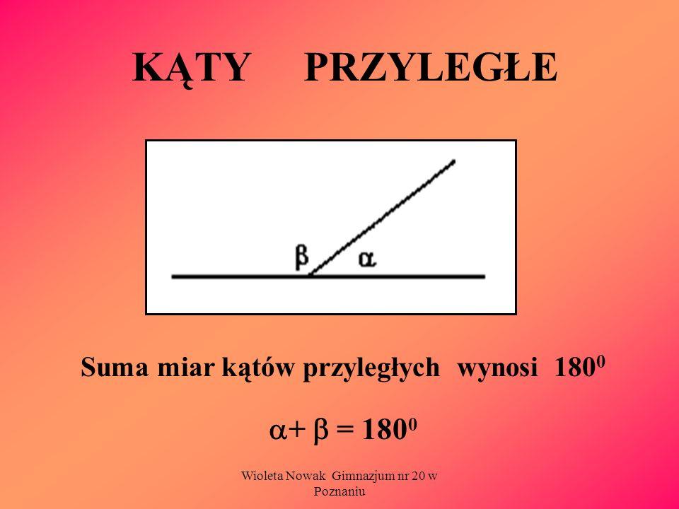 Wioleta Nowak Gimnazjum nr 20 w Poznaniu KĄTY PRZYLEGŁE Suma miar kątów przyległych wynosi 180 0 + = 180 0