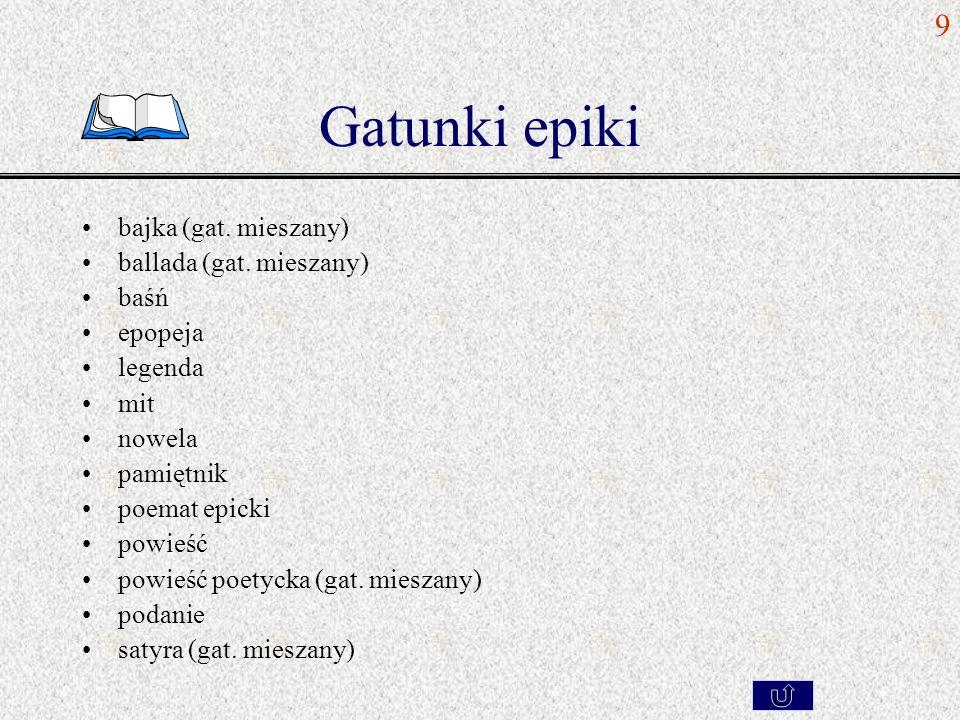 Gatunki epiki bajka (gat. mieszany) ballada (gat. mieszany) baśń epopeja legenda mit nowela pamiętnik poemat epicki powieść powieść poetycka (gat. mie