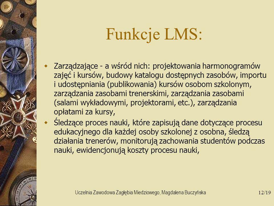 Uczelnia Zawodowa Zagłębia Miedziowego, Magdalena Buczyńska12/19 Funkcje LMS: Zarządzające - a wśród nich: projektowania harmonogramów zajęć i kursów,