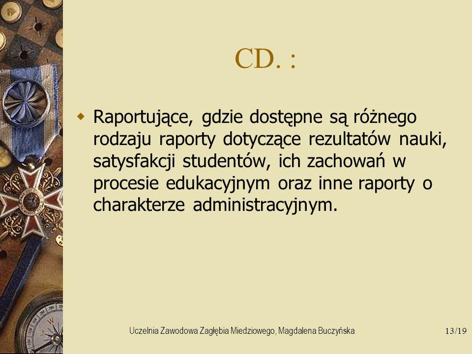 Uczelnia Zawodowa Zagłębia Miedziowego, Magdalena Buczyńska13/19 CD. : Raportujące, gdzie dostępne są różnego rodzaju raporty dotyczące rezultatów nau