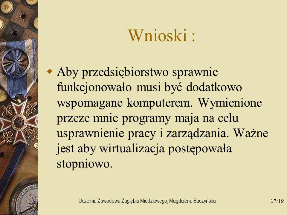 Uczelnia Zawodowa Zagłębia Miedziowego, Magdalena Buczyńska17/19 Wnioski : Aby przedsiębiorstwo sprawnie funkcjonowało musi być dodatkowo wspomagane k