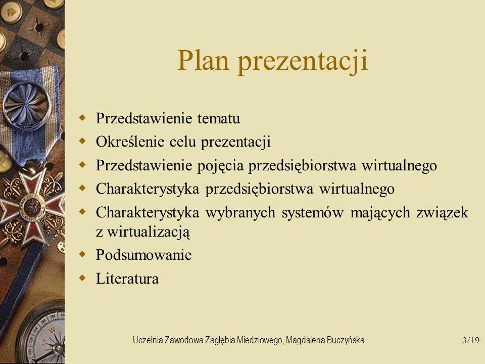 Uczelnia Zawodowa Zagłębia Miedziowego, Magdalena Buczyńska3/19 Plan prezentacji Przedstawienie tematu Określenie celu prezentacji Przedstawienie poję