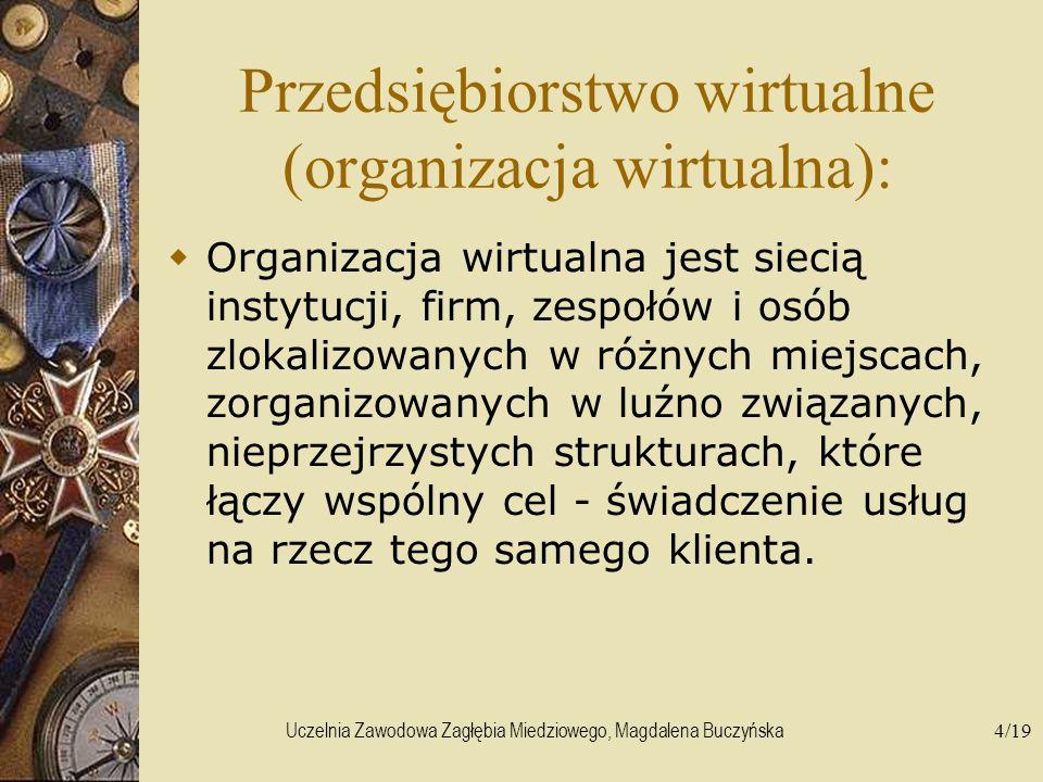 Uczelnia Zawodowa Zagłębia Miedziowego, Magdalena Buczyńska4/19 Przedsiębiorstwo wirtualne (organizacja wirtualna): Organizacja wirtualna jest siecią