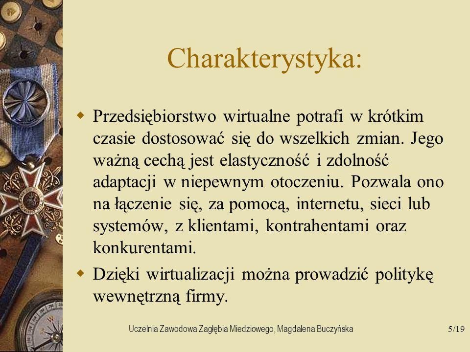 Uczelnia Zawodowa Zagłębia Miedziowego, Magdalena Buczyńska5/19 Charakterystyka: Przedsiębiorstwo wirtualne potrafi w krótkim czasie dostosować się do