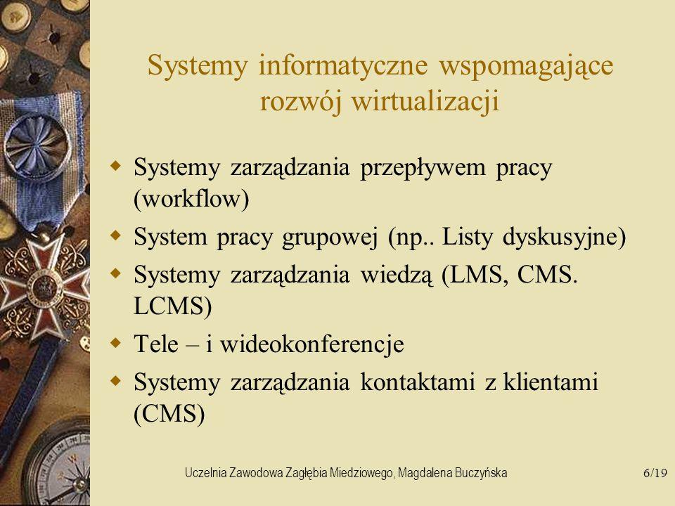 Uczelnia Zawodowa Zagłębia Miedziowego, Magdalena Buczyńska6/19 Systemy informatyczne wspomagające rozwój wirtualizacji Systemy zarządzania przepływem