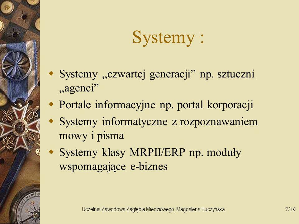 Uczelnia Zawodowa Zagłębia Miedziowego, Magdalena Buczyńska7/19 Systemy : Systemy czwartej generacji np. sztuczni agenci Portale informacyjne np. port