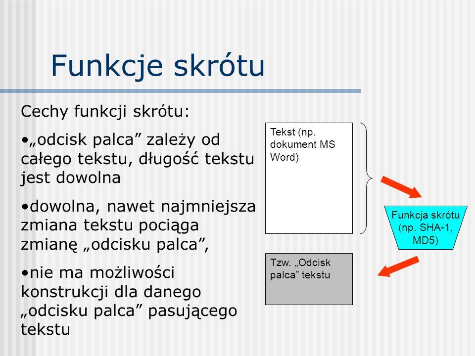 Funkcje skrótu Tekst (np. dokument MS Word) Tzw. Odcisk palca tekstu Cechy funkcji skrótu: odcisk palca zależy od całego tekstu, długość tekstu jest d