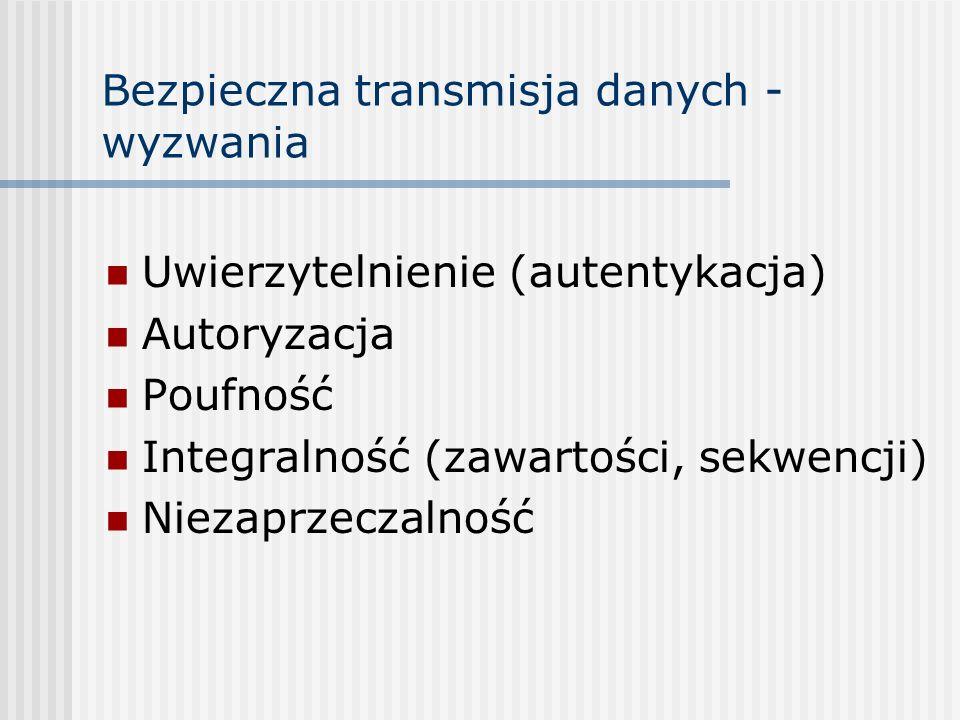 Bezpieczna transmisja danych - przykład Zleceniodawca: Nazwa: Jan Nowak Nr rachunku: 123456 Odbiorca: Nazwa: Canal+ Nr rachunku: 987654 Tytułem: opłata (pay-for-view) za walkę R.J.Junior – D.Michalczewski Kwota: 150 zł