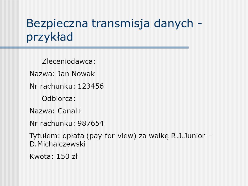 Bezpieczna transmisja danych - przykład Zleceniodawca: Nazwa: Jan Nowak Nr rachunku: 123456 Odbiorca: Nazwa: Canal+ Nr rachunku: 987654 Tytułem: opłat
