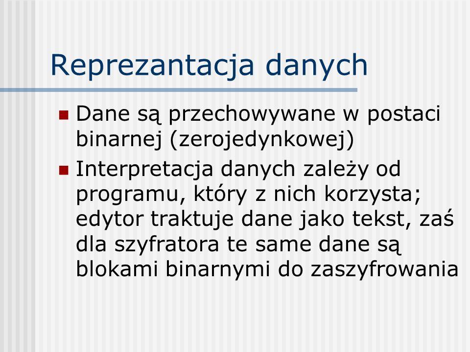 Reprezantacja danych Dane są przechowywane w postaci binarnej (zerojedynkowej) Interpretacja danych zależy od programu, który z nich korzysta; edytor