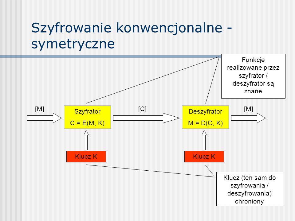 Szyfrowanie konwencjonalne - symetryczne Szyfrator C = E(M, K) Deszyfrator M = D(C, K) Klucz K Funkcje realizowane przez szyfrator / deszyfrator są zn